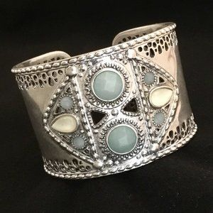 Lucky Brand Silver Tone Wide Cuff Bangle NWOT